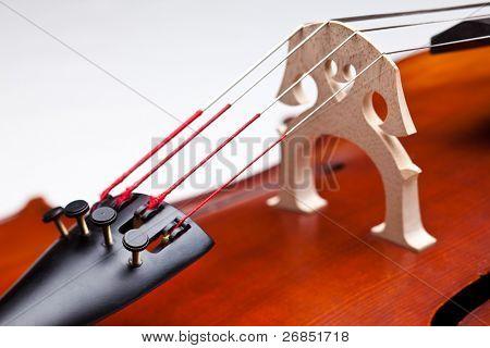 Closeup Cello. kurze Dof. Zeichenfolgen im Fokus