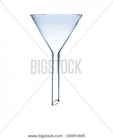 Glass transparent laboratory funnel isolated on white background