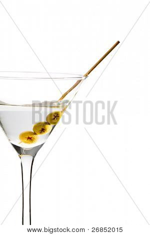 Martini with three olives isolated on white background
