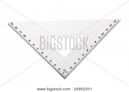 Plastic Setsquare isolated on white