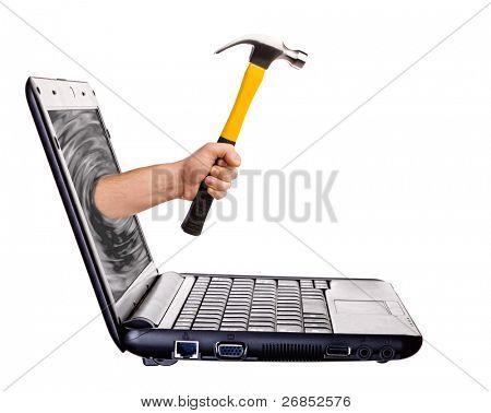 Hammer in hand sticking out of monitor isolated on white - online helping hand