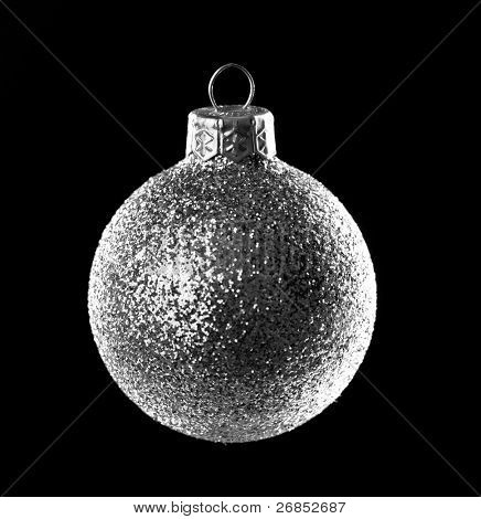 Christmas silver ball isolated on black background
