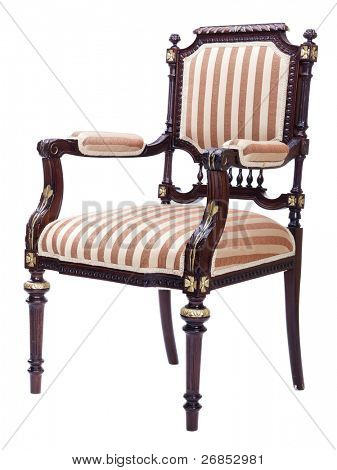 Very distinctive looking chair. You might say it's a love seat. The image is isolated on white background.