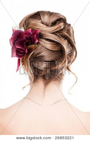 beauty wedding hairstyle rear view isolated on white
