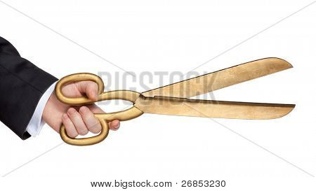 Businessman hold scissors isolated on white