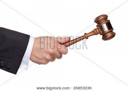 gavel in Hand auf weiß