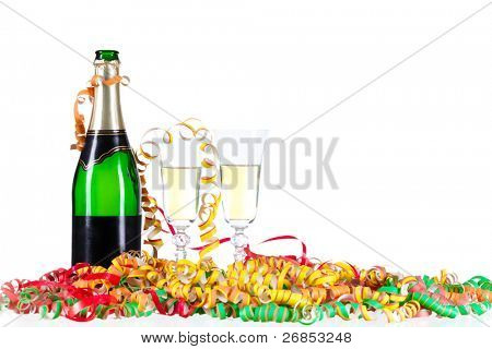 For New Year or other festivities, a pair of champagne glasses with colorful Confetti