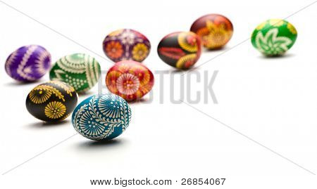 hand painted easter eggs on white background