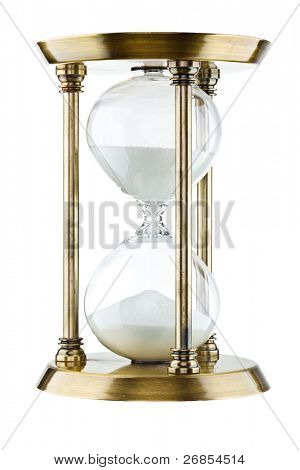 Hourglass against a white background.