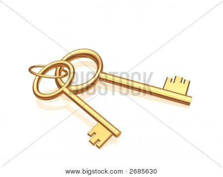 Two Gold Keys On A Glossy White Background