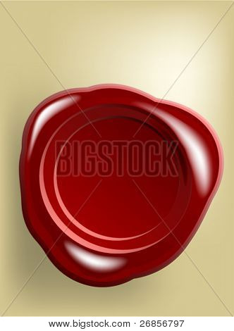 Red wax seal on old paper (vector)