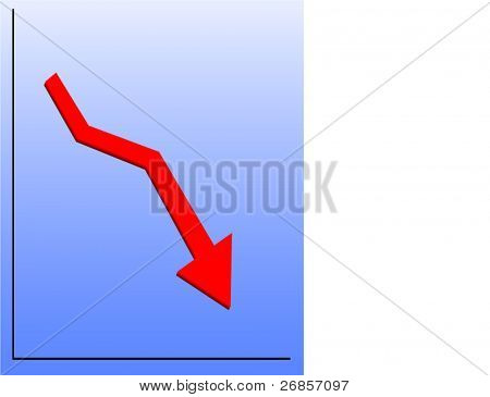 Falling red arrow on blue graph