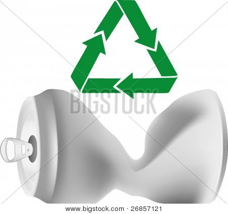 crumpled can with recycle sign