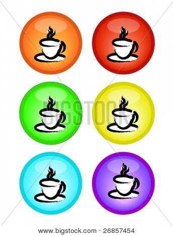 Set of color-full coffee cup, button ,vector