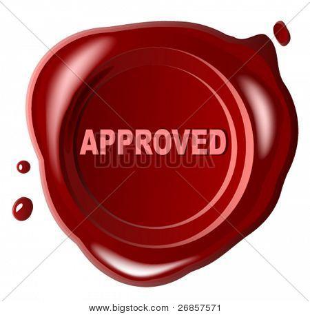Aprobado el sello de cera roja con estampado a través de ella - vector