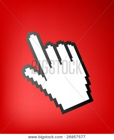 computer hand cursor symbol, on red background