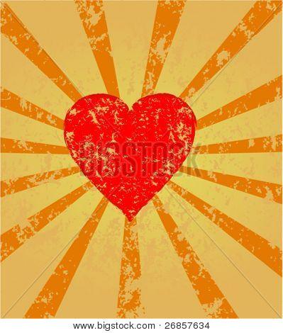vetor de retro sunburst com corações