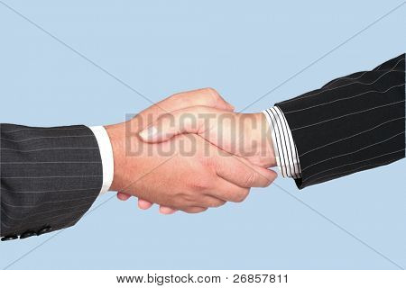 Business handshake deal - isolated on blue background