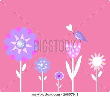 Spring flower with bird