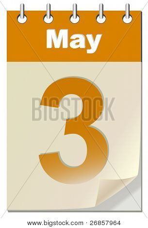 Vector illustration of calendar with bend page