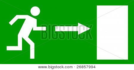 Emergency exit door, sign with human figure