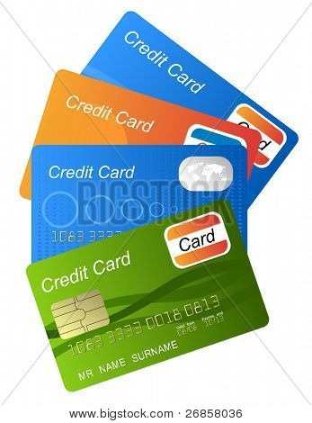 Set of color credit card vector, highly detailed, vector