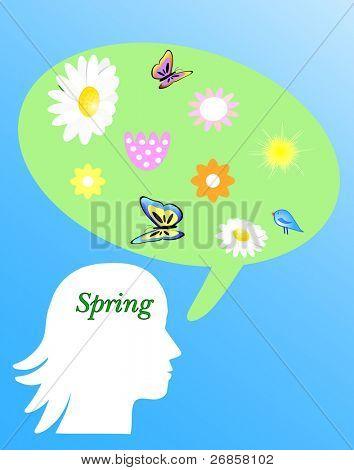 spring silhouette girl's head