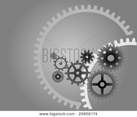 Various cogwheels, vector, industrial background