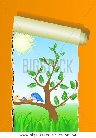 tree, birds and nestling, vector pattern with ripped wallpaper