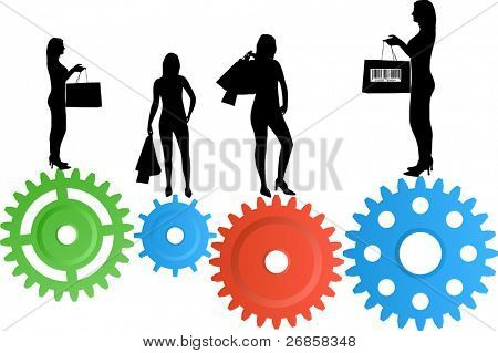 Illustration of hopping woman silhouettes on colourful gear wheels