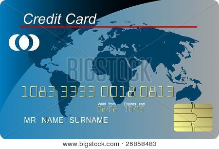 Blue credit card , highly detailed (jpg)