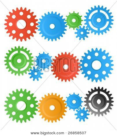 set of colourful gear wheels isolated on white (jpg)