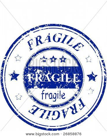 rubber grunge office stamp with the word fragile