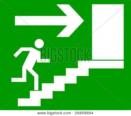 Emergency exit door, sign with human figure on stairs, vector