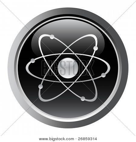 Símbolo atômico como um botão web. vector