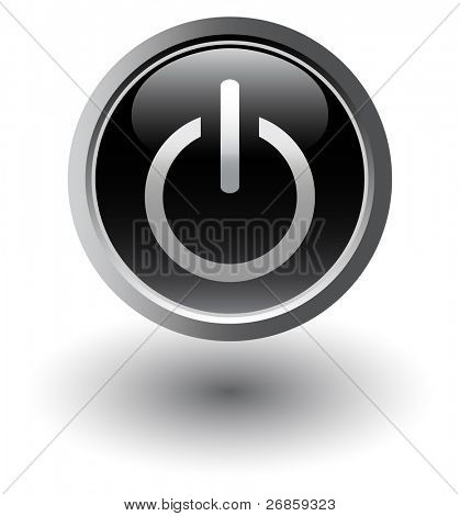 Power / start black button over white background. Vector