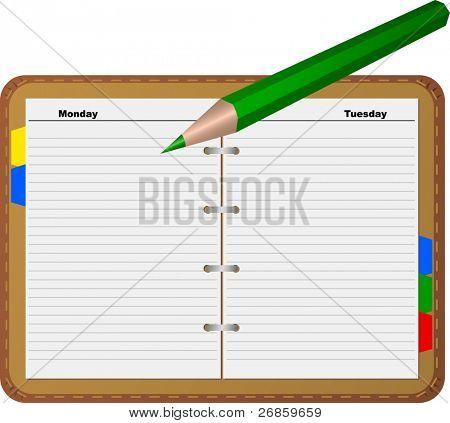 Grüne Bleistift auf dornigen Seite von Notepad (Jpg)