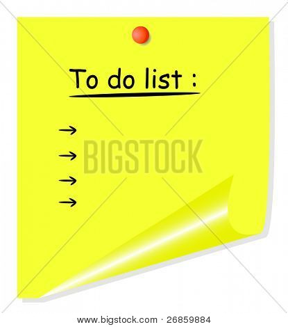 Vector yellow postit with curled corner, isolated