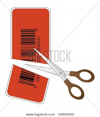 scissors cutting price tag with bar code in half - vector