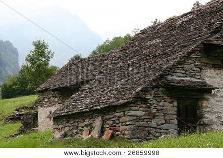 Abandoned old stoned house in Swiss