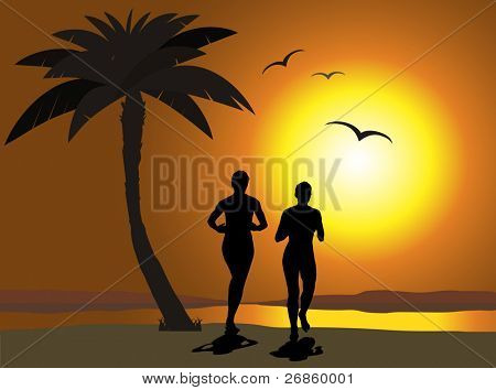 Young people running during sunset, on a beach