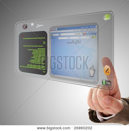 hand is searching information an internet website