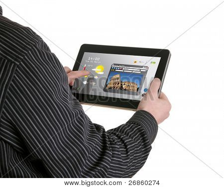 man searching a tourism information on pad, pad was heavily modified, it does not resemble any particular device