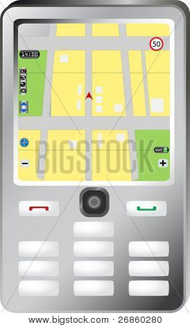 Simple smartphone with navigation map
