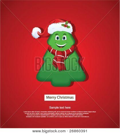 Frohe Weihnachten-Grußkarte mit Weihnachtsbaum