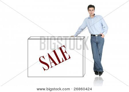 man and box at white background
