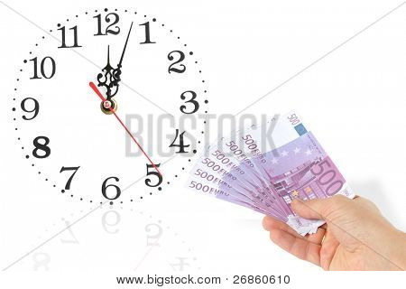 hand with euro at whitebackground