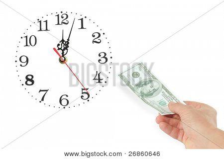 hand with dollar at whitebackground