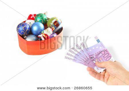 hand with euro at whitebackground