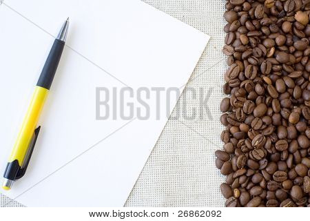 pen at paper and textile